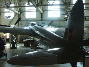 The Mosquito's nearly seamless wooden fuselage in all it's glory.
