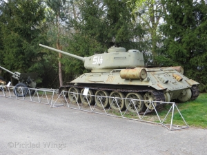 A T-34 tank is one of several ground vehicle exhibits.
