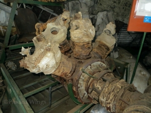 The remnants of a BMW 801 engine from a German Focke-Wulf Fw.190 fighter in the aviation archaeology collection.
