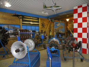 A selection of aircraft engines on display.