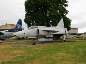 A Saab J-37 Viggen, gifted to the museum from Sweden after the Viggen force was retired.