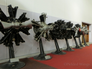 A selection of locally produced Walter engines on display.