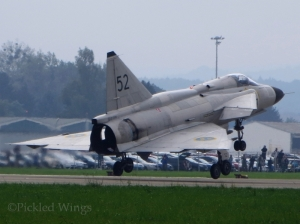AJS 37 Viggen at Ostrava in 2014. Showing the Viggen's delta wing and canard design.