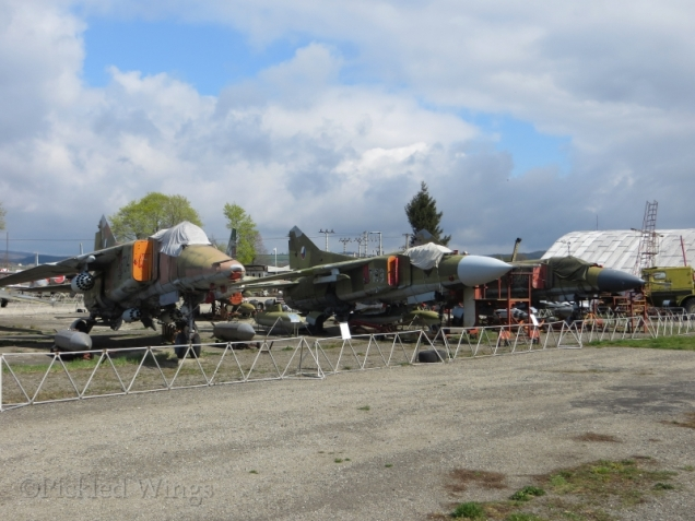 A selection of Mikoyan-Gurevich MiG-23 fighters on display in Vyškov.