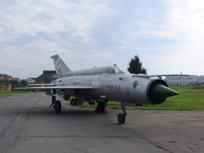 The old guard, a MiG-21 kept preserved at Čáslav. The Gripen replaced it in Czech service in 2005.