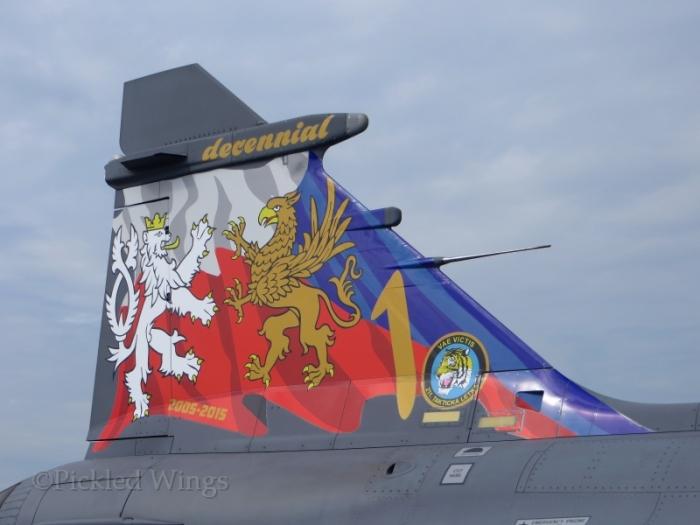 Special 10th anniversary tail art on a Czech Gripen.