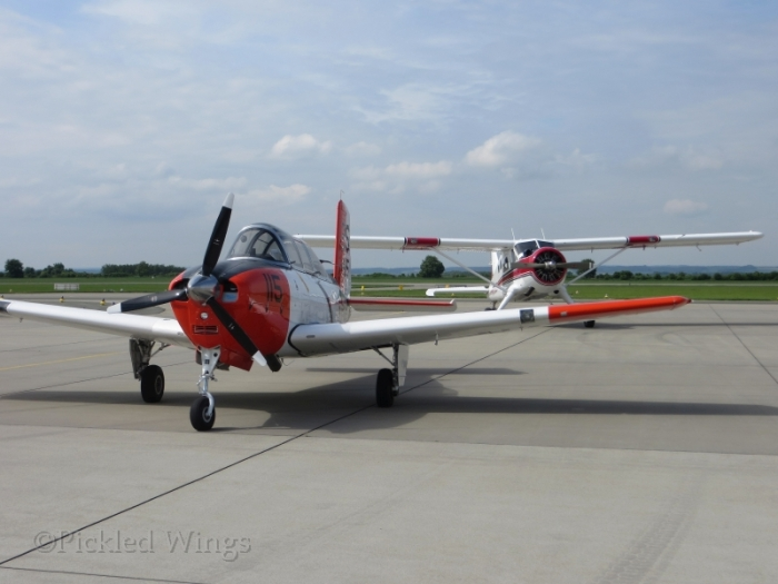 A Beech T-34 Mentor and a DeHavilland DHC-2 Beaver in the vintage section.