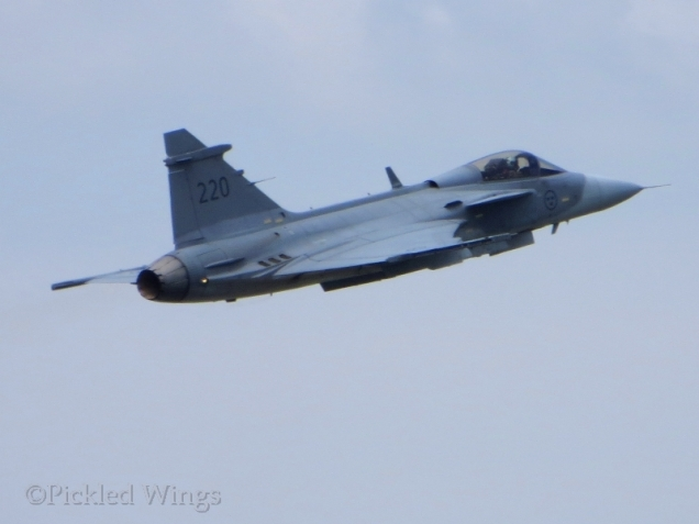 A Swedish Gripen getting airborne.