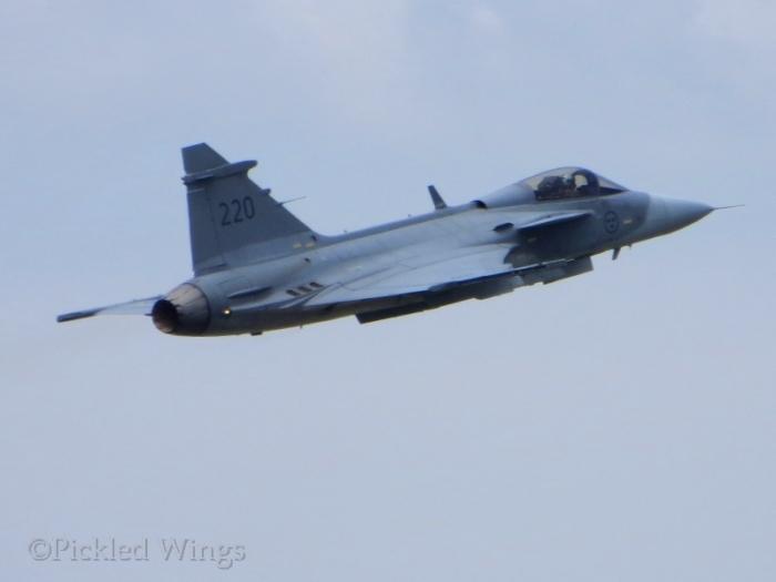 A Swedish Gripen getting airborne.