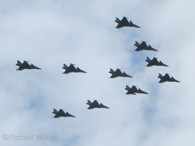 A special 10 ship Gripen formation to mark a decade of the type in Czech service.